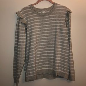 White and gray long sleeved striped sweater